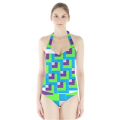 Geometric 3d Mosaic Bold Vibrant Halter Swimsuit by Amaryn4rt