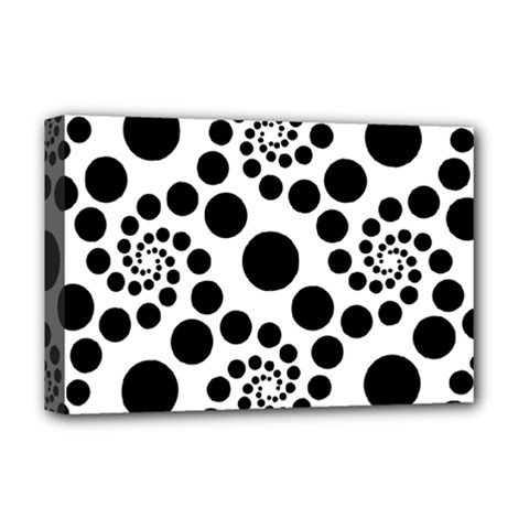 Dot Dots Round Black And White Deluxe Canvas 18  X 12   by Amaryn4rt