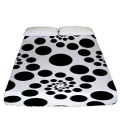 Dot Dots Round Black And White Fitted Sheet (king Size) by Amaryn4rt