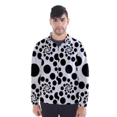 Dot Dots Round Black And White Wind Breaker (men) by Amaryn4rt