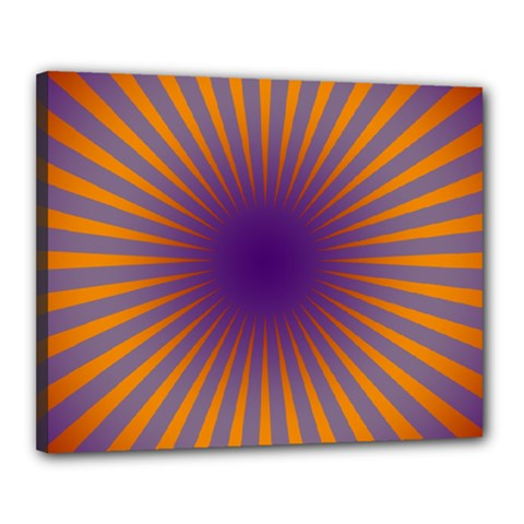 Retro Circle Lines Rays Orange Canvas 20  X 16  by Amaryn4rt