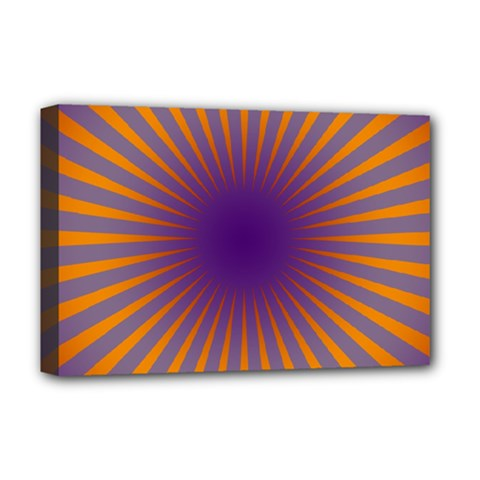 Retro Circle Lines Rays Orange Deluxe Canvas 18  X 12   by Amaryn4rt