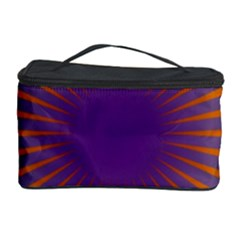 Retro Circle Lines Rays Orange Cosmetic Storage Case by Amaryn4rt