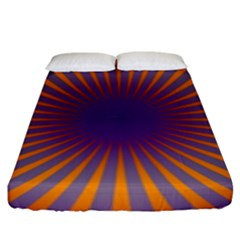Retro Circle Lines Rays Orange Fitted Sheet (king Size) by Amaryn4rt