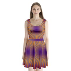 Retro Circle Lines Rays Orange Split Back Mini Dress
