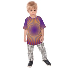 Retro Circle Lines Rays Orange Kids  Raglan Tee
