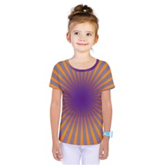 Retro Circle Lines Rays Orange Kids  One Piece Tee
