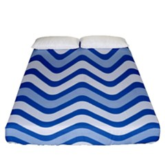 Waves Wavy Lines Pattern Design Fitted Sheet (california King Size) by Amaryn4rt