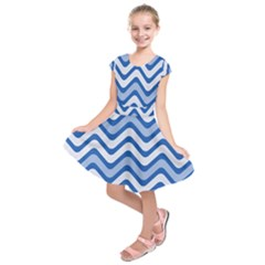 Waves Wavy Lines Pattern Design Kids  Short Sleeve Dress
