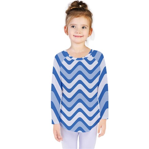 Waves Wavy Lines Pattern Design Kids  Long Sleeve Tee by Amaryn4rt