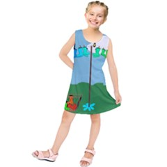 Welly Boot Rainbow Clothesline Kids  Tunic Dress by Amaryn4rt