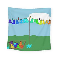 Welly Boot Rainbow Clothesline Square Tapestry (small)