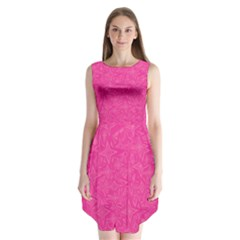 Geometric Pattern Wallpaper Pink Sleeveless Chiffon Dress