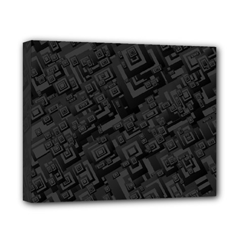 Black Rectangle Wallpaper Grey Canvas 10  X 8  by Amaryn4rt