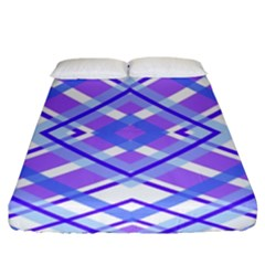 Geometric Plaid Pale Purple Blue Fitted Sheet (king Size) by Amaryn4rt