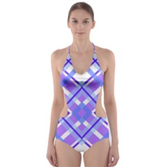 Geometric Plaid Pale Purple Blue Cut-out One Piece Swimsuit by Amaryn4rt