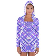 Geometric Plaid Pale Purple Blue Women s Long Sleeve Hooded T-shirt