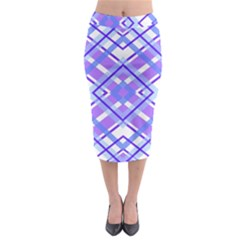 Geometric Plaid Pale Purple Blue Midi Pencil Skirt