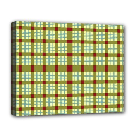 Geometric Tartan Pattern Square Deluxe Canvas 20  X 16   by Amaryn4rt