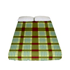 Geometric Tartan Pattern Square Fitted Sheet (full/ Double Size) by Amaryn4rt