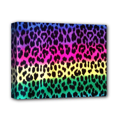 Cheetah Neon Rainbow Animal Deluxe Canvas 14  X 11