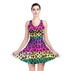 Cheetah Neon Rainbow Animal Reversible Skater Dress