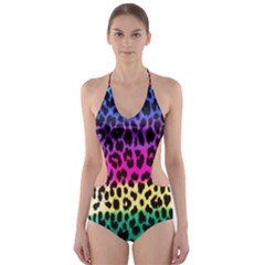 Cheetah Neon Rainbow Animal Cut Out One Piece Swimsuit