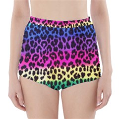 Cheetah Neon Rainbow Animal High Waisted Bikini Bottoms
