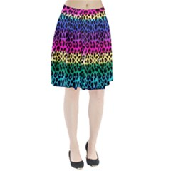 Cheetah Neon Rainbow Animal Pleated Skirt