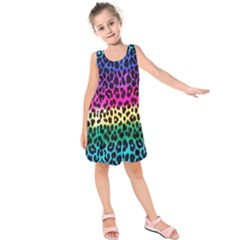 Cheetah Neon Rainbow Animal Kids  Sleeveless Dress
