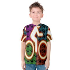 Bike Neon Colors Graphic Bright Bicycle Light Purple Orange Gold Green Blue Kids  Cotton Tee