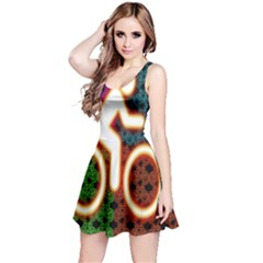 Bike Neon Colors Graphic Bright Bicycle Light Purple Orange Gold Green Blue Reversible Sleeveless Dress