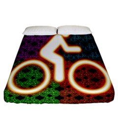 Bike Neon Colors Graphic Bright Bicycle Light Purple Orange Gold Green Blue Fitted Sheet (california King Size)