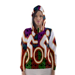 Bike Neon Colors Graphic Bright Bicycle Light Purple Orange Gold Green Blue Hooded Wind Breaker (women)