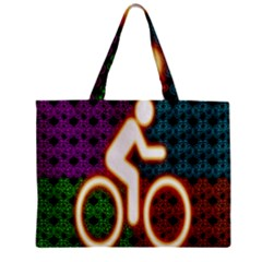 Bike Neon Colors Graphic Bright Bicycle Light Purple Orange Gold Green Blue Zipper Mini Tote Bag by Alisyart