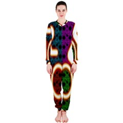 Bike Neon Colors Graphic Bright Bicycle Light Purple Orange Gold Green Blue Onepiece Jumpsuit (ladies)