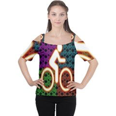 Bike Neon Colors Graphic Bright Bicycle Light Purple Orange Gold Green Blue Women s Cutout Shoulder Tee