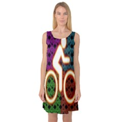 Bike Neon Colors Graphic Bright Bicycle Light Purple Orange Gold Green Blue Sleeveless Satin Nightdress