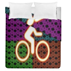 Bike Neon Colors Graphic Bright Bicycle Light Purple Orange Gold Green Blue Duvet Cover Double Side (queen Size)
