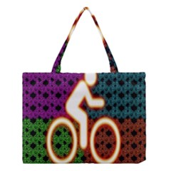 Bike Neon Colors Graphic Bright Bicycle Light Purple Orange Gold Green Blue Medium Tote Bag by Alisyart