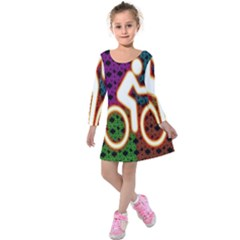 Bike Neon Colors Graphic Bright Bicycle Light Purple Orange Gold Green Blue Kids  Long Sleeve Velvet Dress