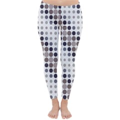 Circle Blue Grey Line Waves Black Classic Winter Leggings