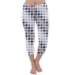 Circle Blue Grey Line Waves Black Capri Winter Leggings