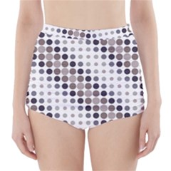 Circle Blue Grey Line Waves Black High-waisted Bikini Bottoms by Alisyart