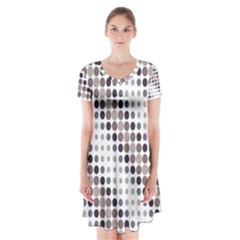 Circle Blue Grey Line Waves Black Short Sleeve V Neck Flare Dress