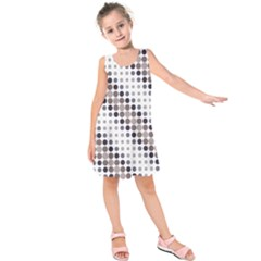 Circle Blue Grey Line Waves Black Kids  Sleeveless Dress by Alisyart