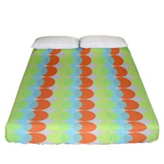 Circles Orange Blue Green Yellow Fitted Sheet (california King Size)
