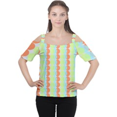 Circles Orange Blue Green Yellow Women s Cutout Shoulder Tee