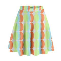 Circles Orange Blue Green Yellow High Waist Skirt by Alisyart