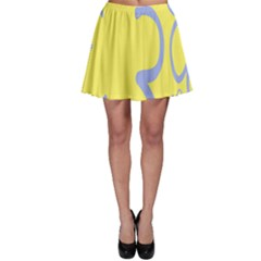 Doodle Shapes Large Flower Floral Grey Yellow Skater Skirt by Alisyart